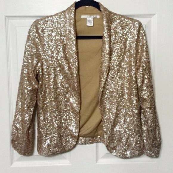 cdd65f17c Ellison Gold Sequin Jacket Open Blazer Small